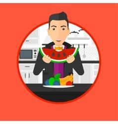 Man eating watermelon vector image