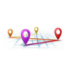 Map navigation with 3d pins vector