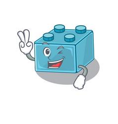 Mascot funny lego brick toys cartoon character vector