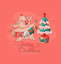 merry christmas cute pig christmas tree vector image