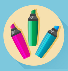 Multicolored highlighters vector