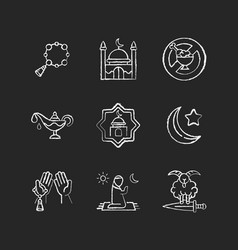 muslim religious traditions chalk white icons set vector image