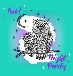 night party greeting card vector image