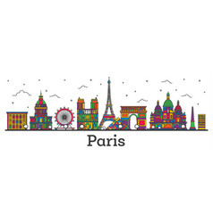 outline paris france city skyline with color vector image