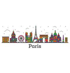 Outline paris france city skyline with color vector