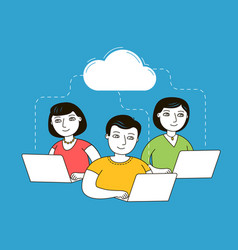 people chatting over laptops on social network e vector image