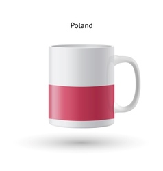 Poland flag souvenir mug on white background vector image