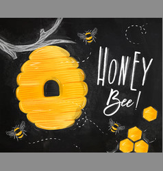 Poster honey bee chalk vector