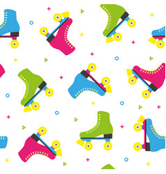 retro quad roller skates colorful seamless pattern vector image