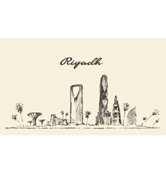 Riyadh skyline drawn sketch vector image