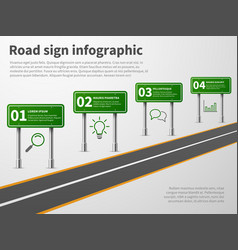 road sign infographic banner traffic street route vector image