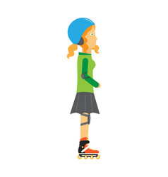 Roller skater girl in flat design vector