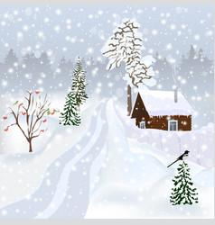russian winter landscape for postcard poster alb vector image