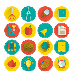 school supplies flat set vector image