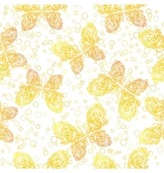 Seamless Pattern Outline Butterflies vector image