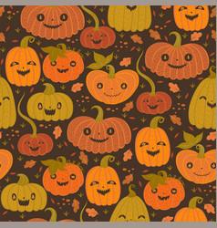 seamless pattern with autumn halloween pumpkins vector image