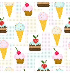 seamless pattern with pixel sweets vector image