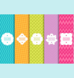 set of bright seamless zigzag patterns vector image