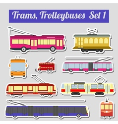 Set of elements trams and trolleybuses for vector image