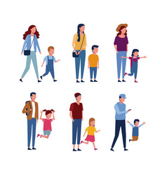 set of parents and kids vector image