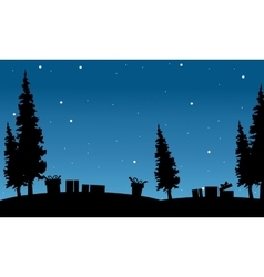 Silhouette of gift and spruce Christmas vector image