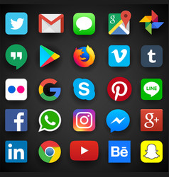 social media icon for facebook whatsapp skype vector image