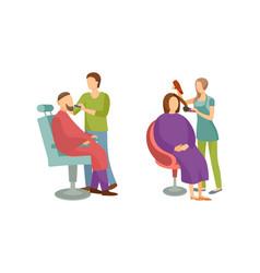 Spa salon woman and man barber hairdresser vector