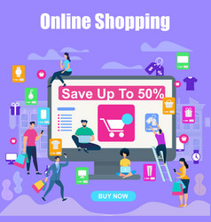square banner people with gadgets and bags sale vector image