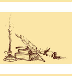 Stack of books paper scroll quill pen vector