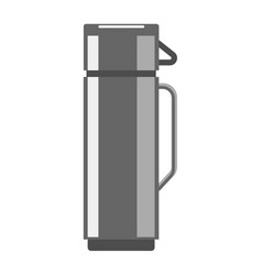 Stainless steel thermos flask isolated on white vector