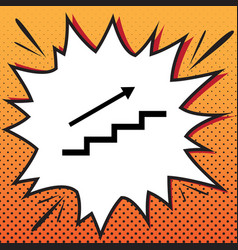 Stair with arrow comics style icon on pop vector