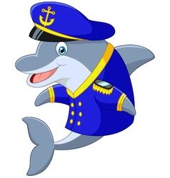 Standing little cartoon dolphin using uniform capt vector