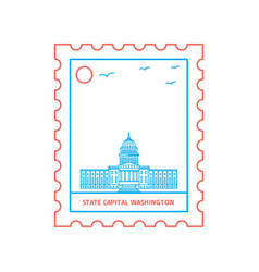State capital washington postage stamp blue and vector