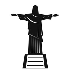 The christ the redeemer statue icon simple style vector