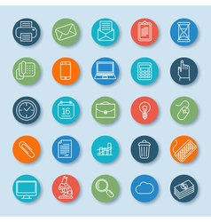 Thin line business and office icons vector