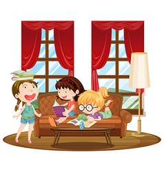 Three girls reading books in living room vector