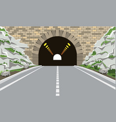 tunnel and highway with flat and cartoon style vector image