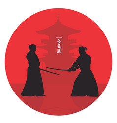 two men show aikido vector image