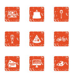 Urban pay icons set grunge style vector