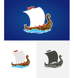 viking drakkar sailing ship floating on sea vector image