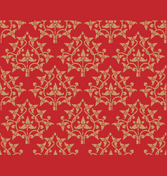 Vintage golden floral pattern seamless on red vector