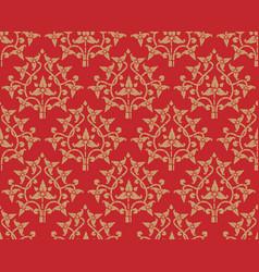 vintage golden floral pattern seamless on red vector image