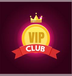 Vip club logo in flat style vector