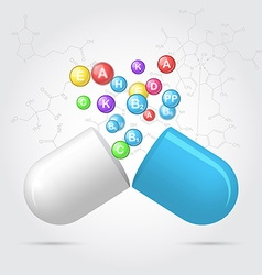 Vitamins from pharmaceutical capsules vector