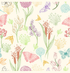 wildflower sketch pattern vector image
