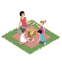 woman and children having picnic vector image