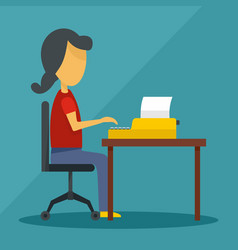 woman writing on desktop icon flat style vector image