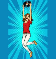 young woman with vinyl record vector image
