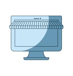 blue shading silhouette of desktop computer online vector image vector image