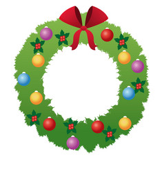 christmas wreath flower bow ball decoration vector image